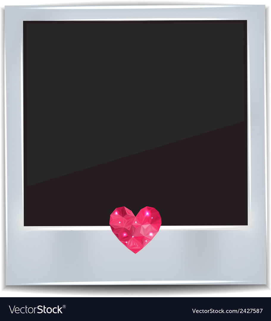 Photo frame with heart on white background vector | Price: 1 Credit (USD $1)