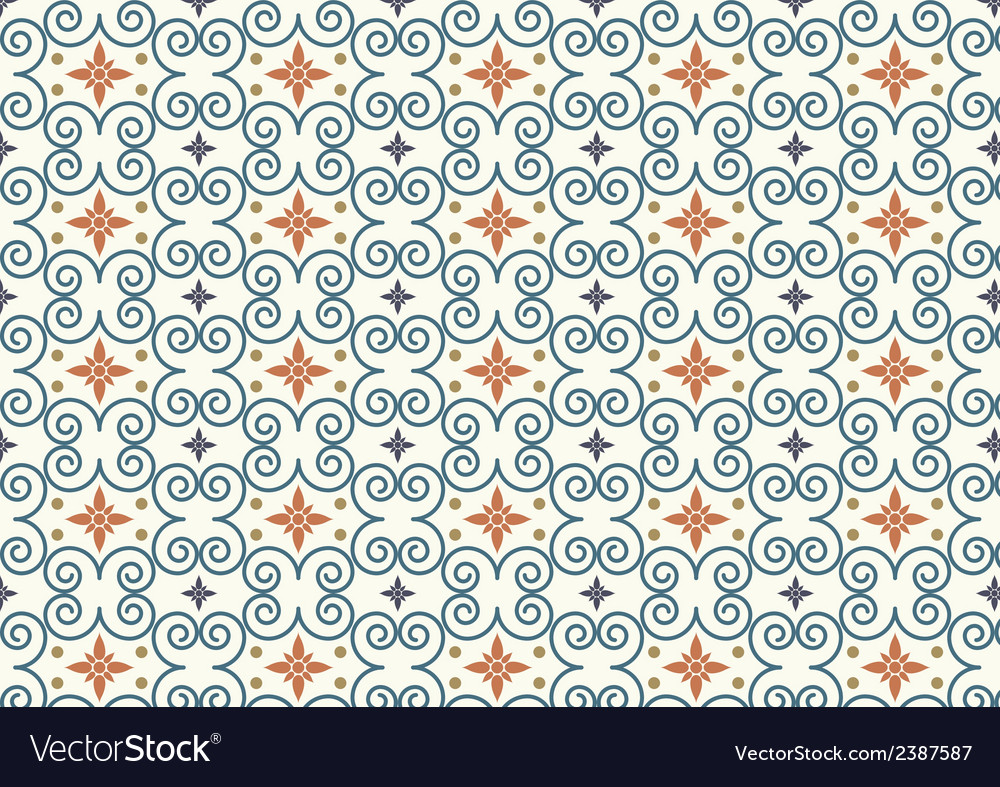 Retro swirl and flower pattern on pastel color vector | Price: 1 Credit (USD $1)