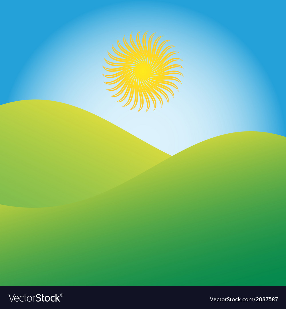 Sun rising over green hills vector | Price: 1 Credit (USD $1)