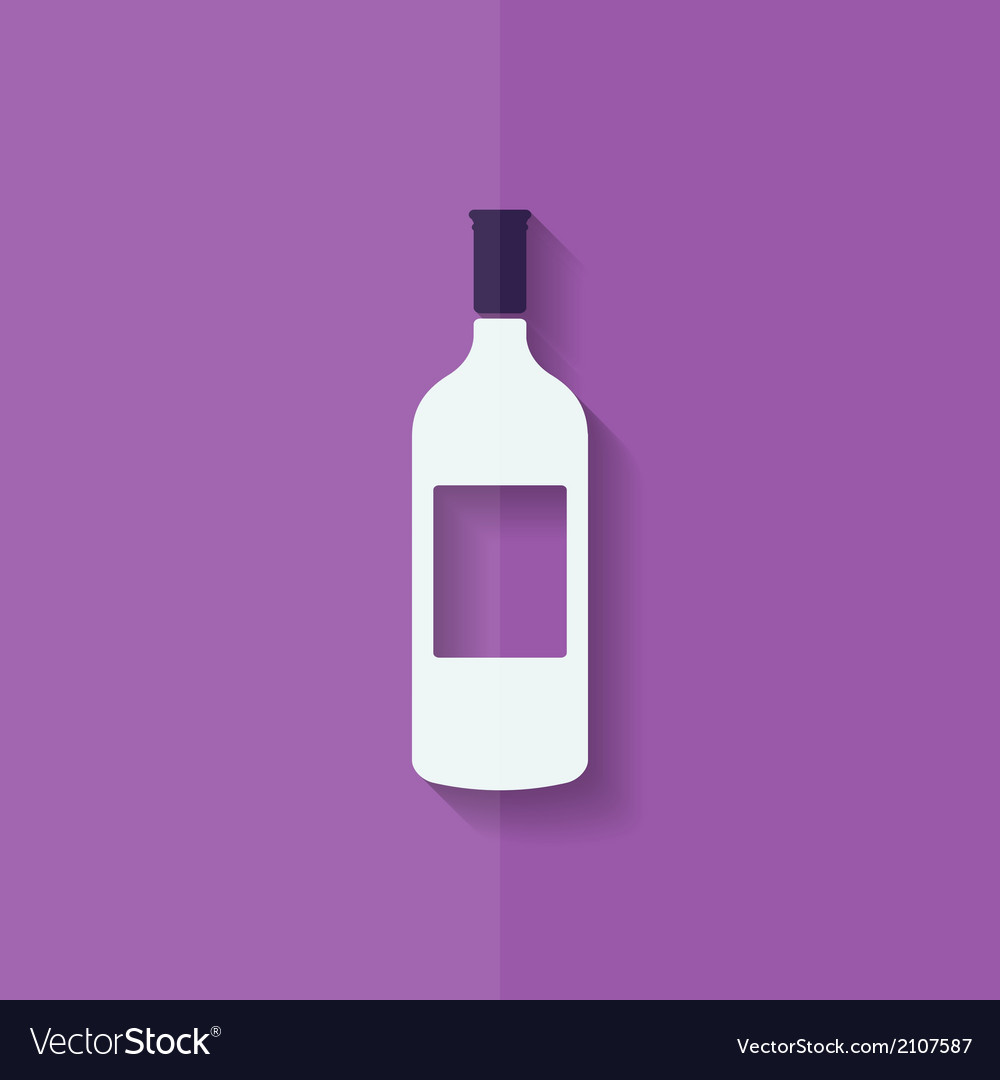 Wine bottle icon flat design vector | Price: 1 Credit (USD $1)