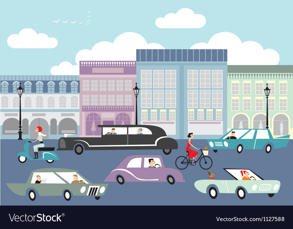 Busy street vector | Price: 1 Credit (USD $1)