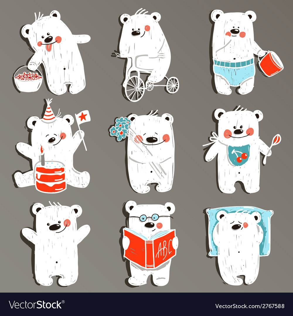 Cartoon white baby bears in action collection vector | Price: 1 Credit (USD $1)