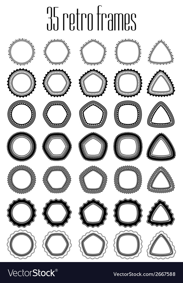 Collection of 35 frames for stamps and seals all vector | Price: 1 Credit (USD $1)