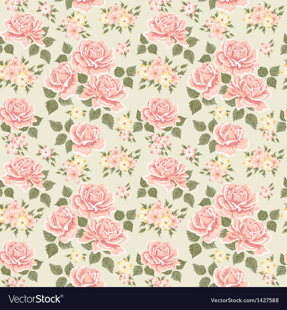 Pink vintage rose pattern vector