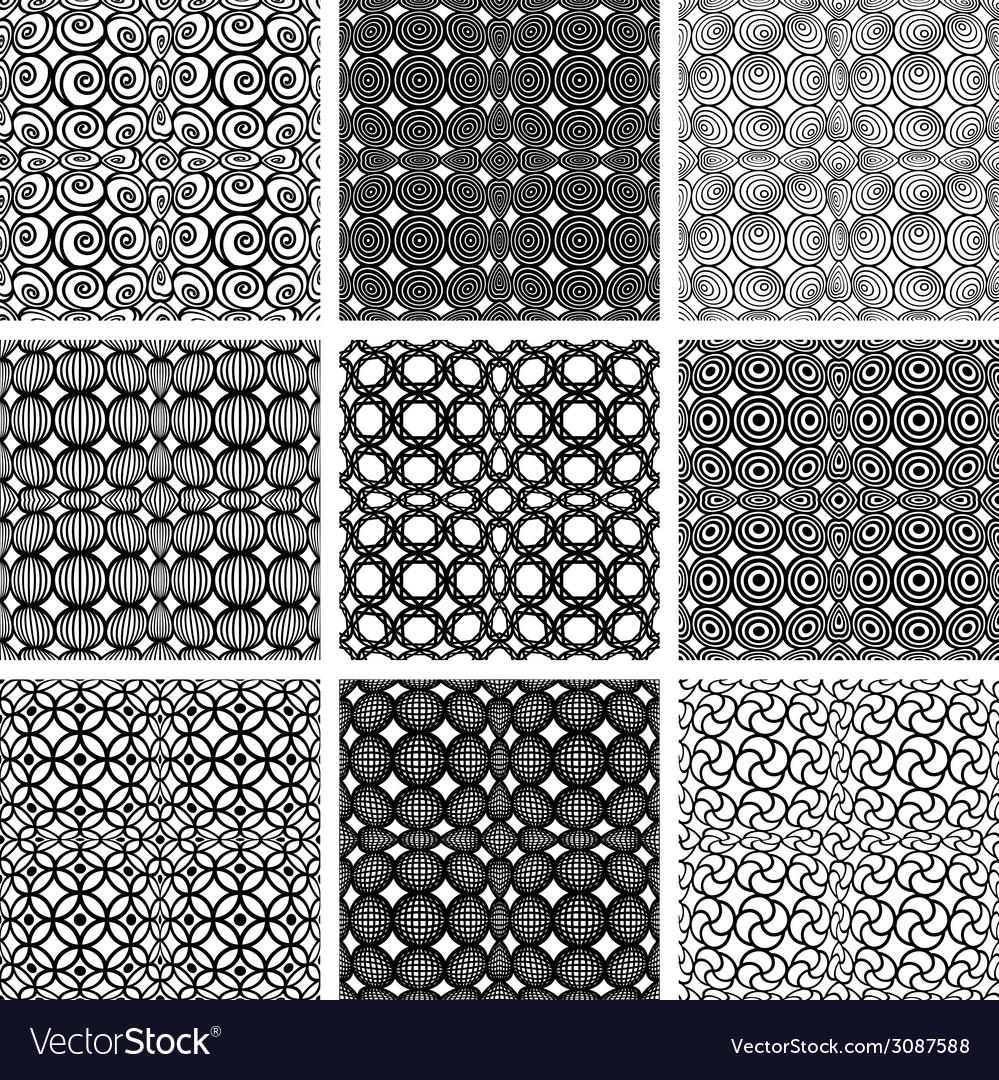 Seamless geometric patterns set vector | Price: 1 Credit (USD $1)