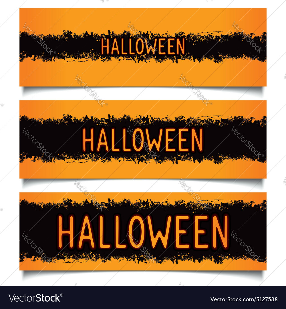 Set halloween grunge banners vector   Price: 1 Credit (USD $1)