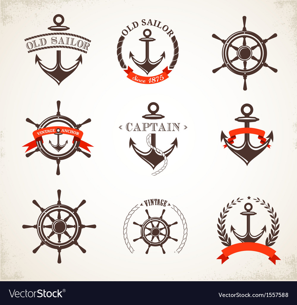 Set of vintage nautical icons and symbols vector | Price: 1 Credit (USD $1)