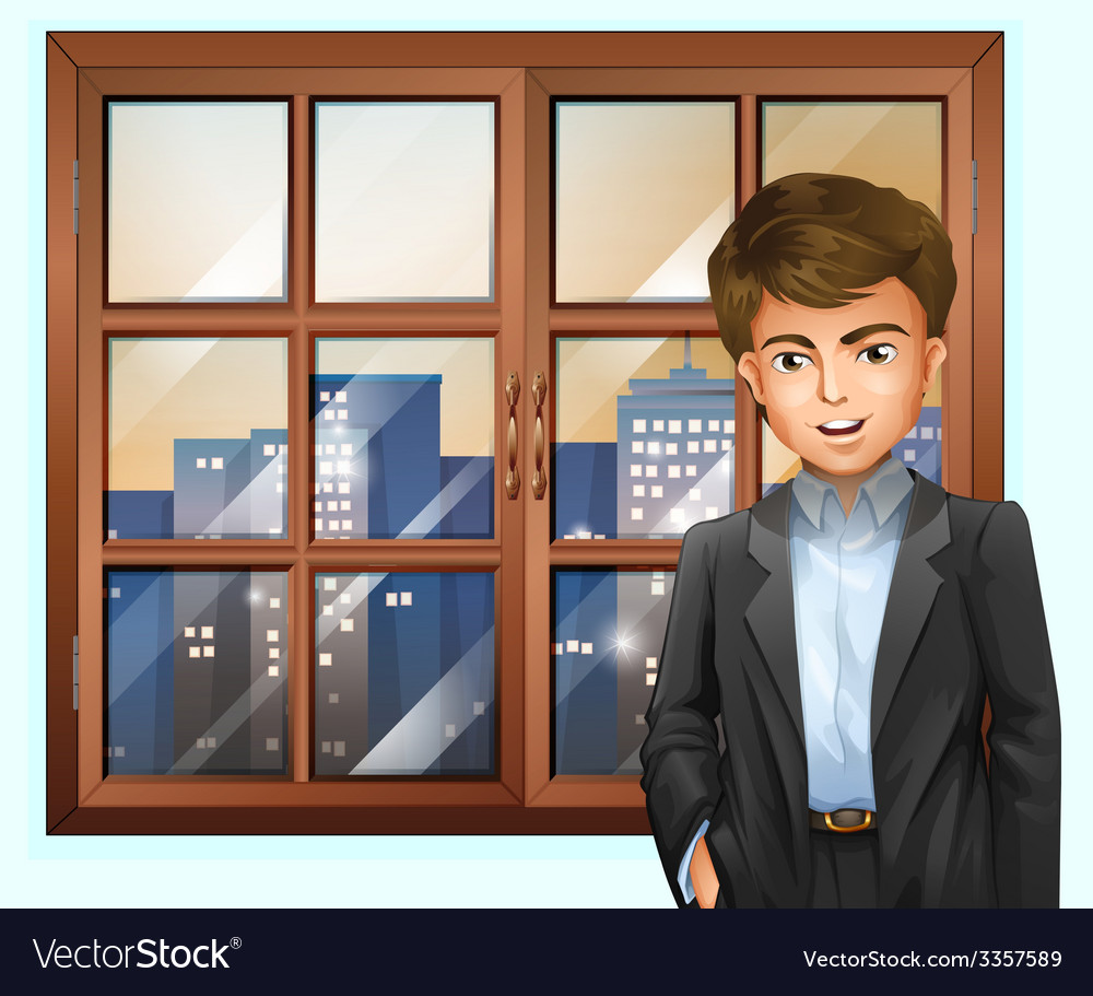 A man near the window vector | Price: 3 Credit (USD $3)