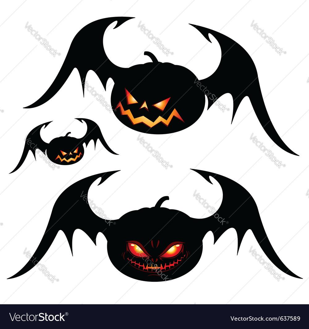 Halloween pumpkins with wings vector | Price: 1 Credit (USD $1)