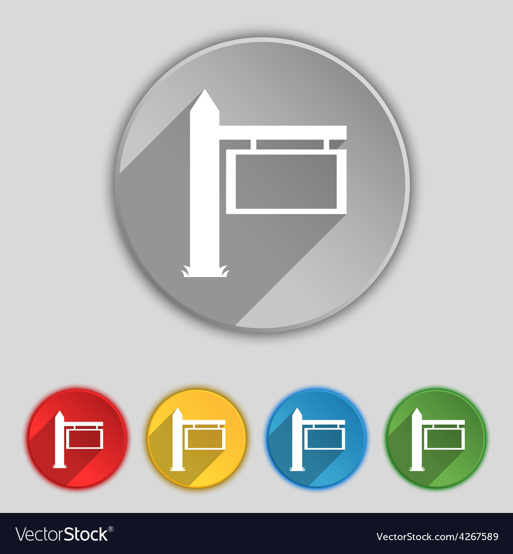 Information road sign icon sign symbol on five vector | Price: 1 Credit (USD $1)