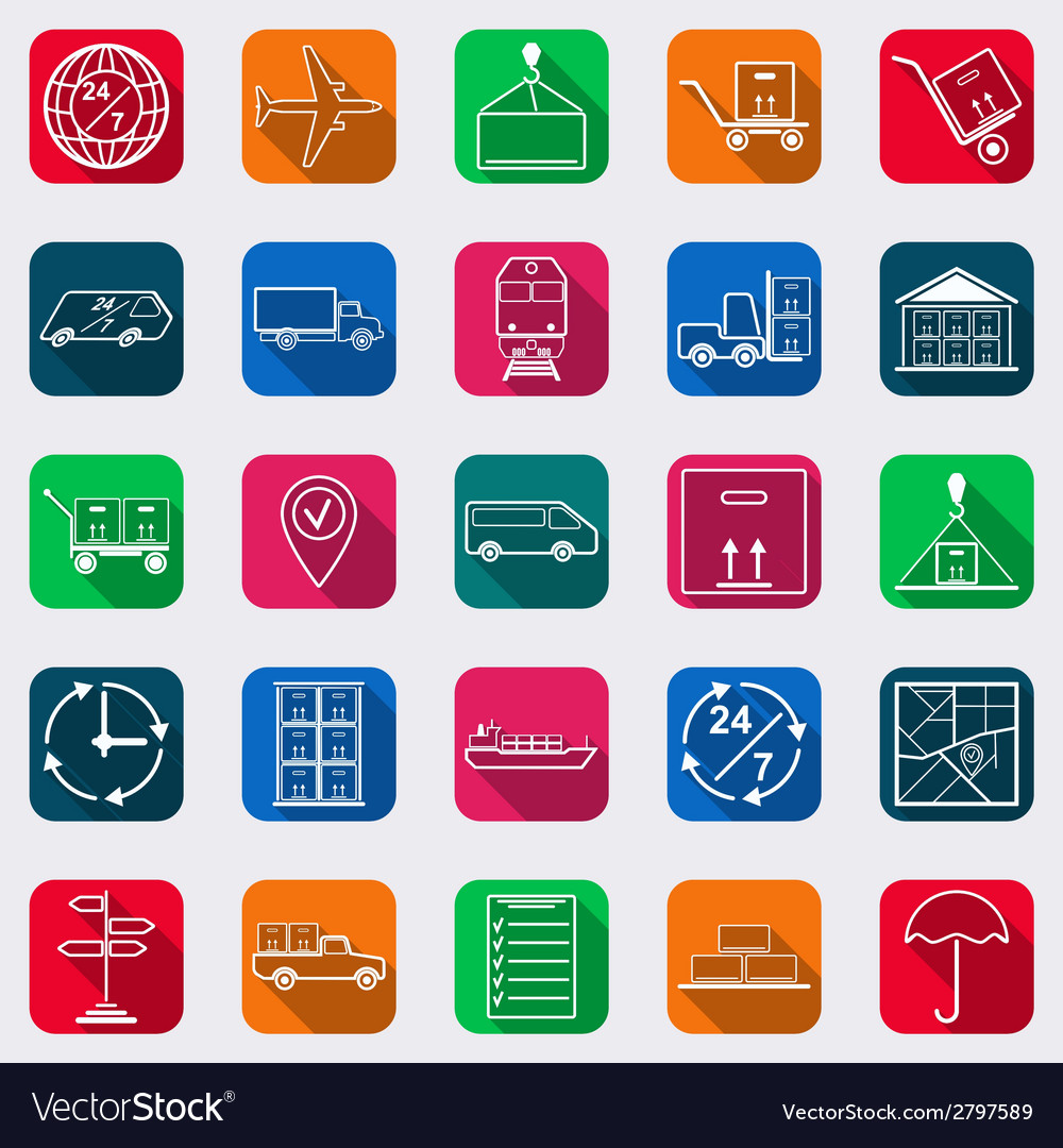 Logistics flat icons vector | Price: 1 Credit (USD $1)