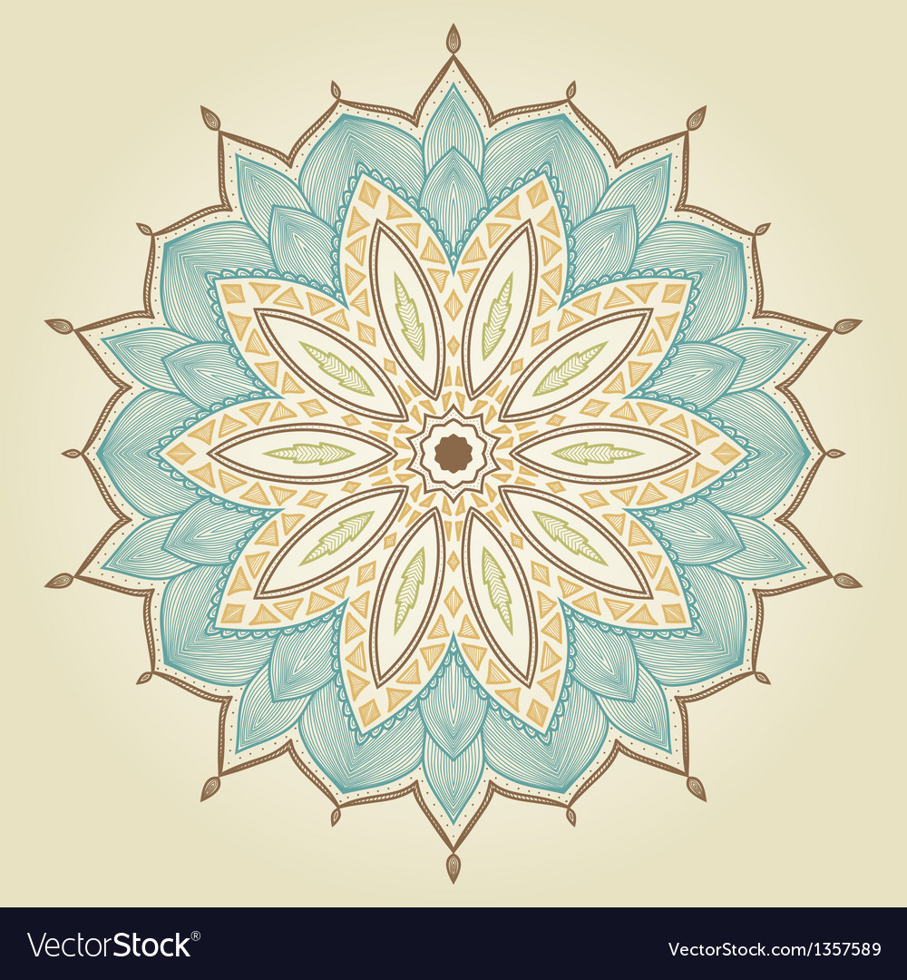 Mandala beautiful hand drawn flower vector | Price: 1 Credit (USD $1)