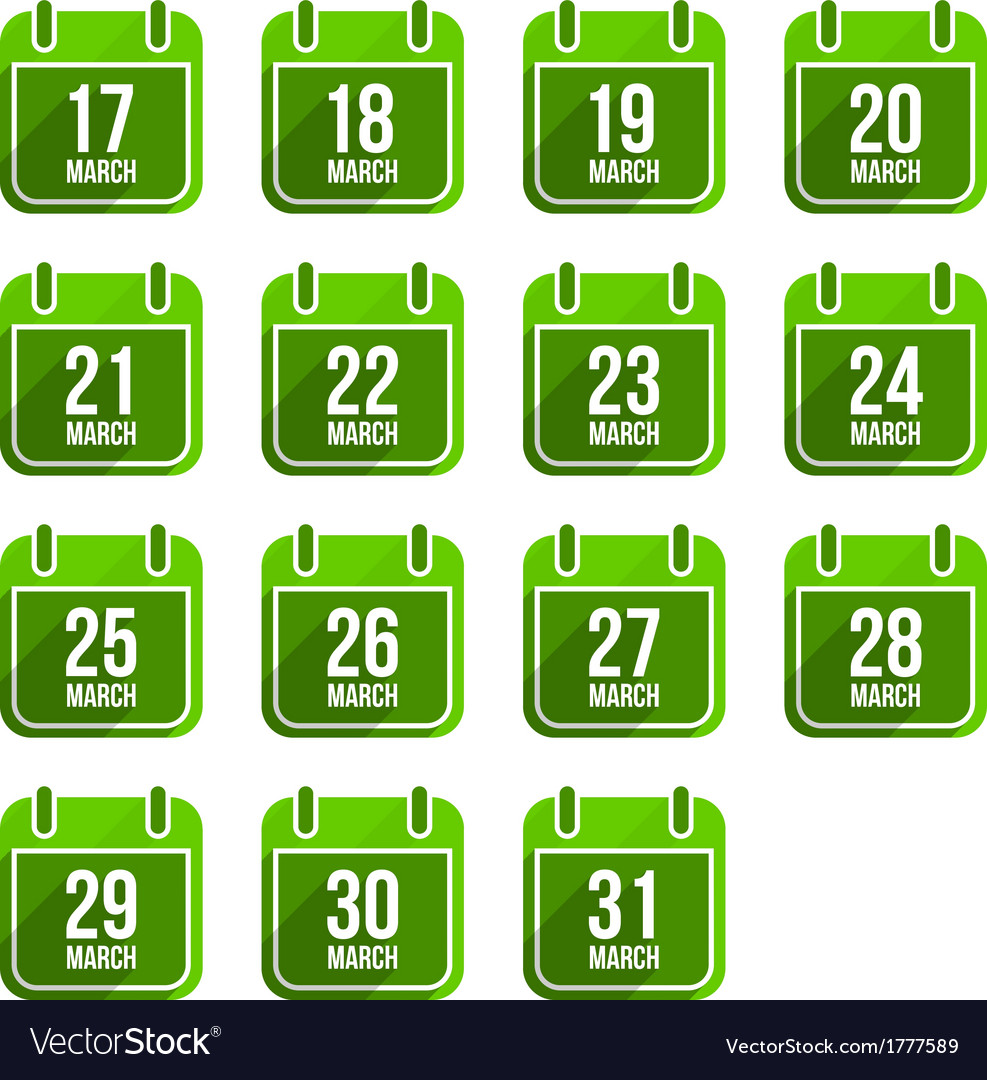 March flat calendar icons with long shadow vector | Price: 1 Credit (USD $1)