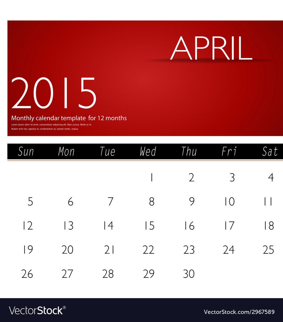 Simple 2015 calendar april vector | Price: 1 Credit (USD $1)