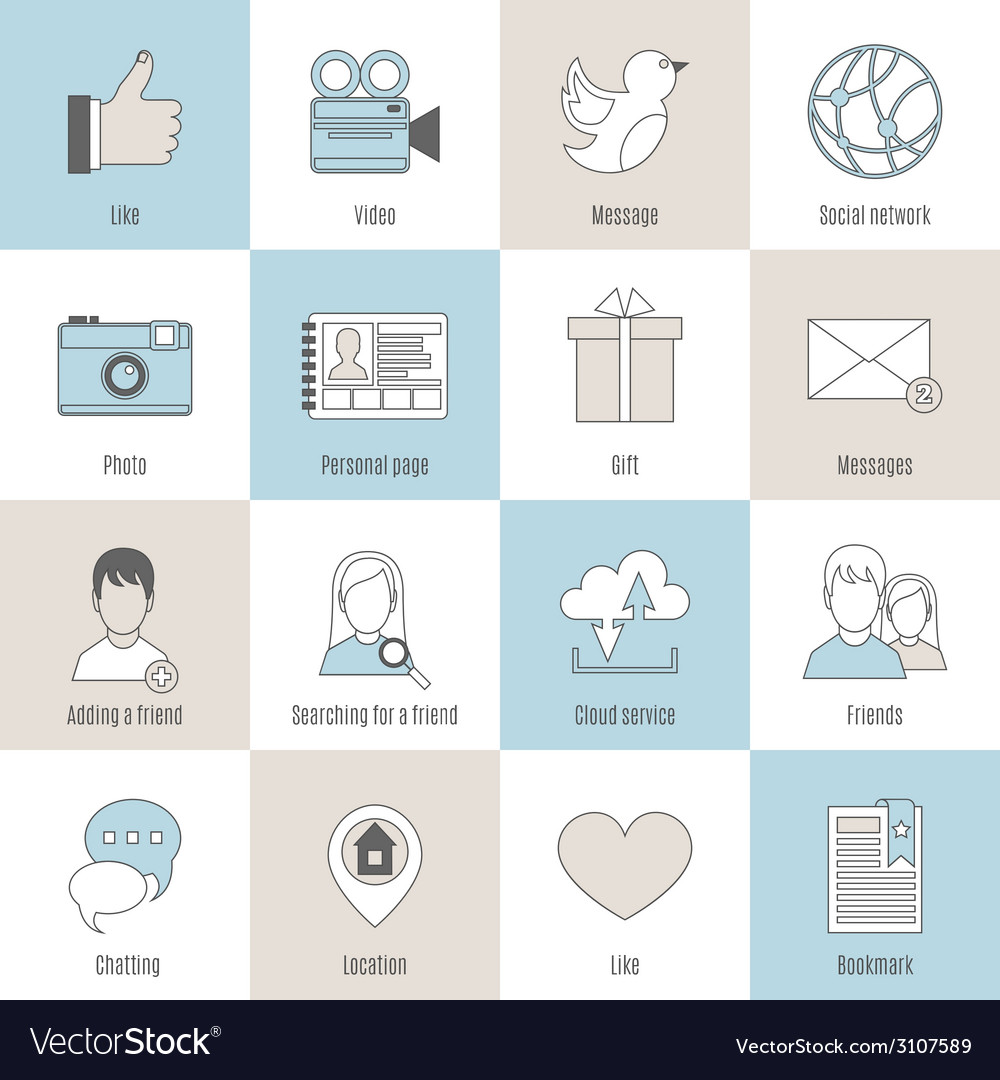 Social icons flat line set vector | Price: 1 Credit (USD $1)