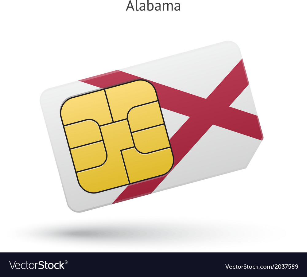 State of alabama phone sim card with flag vector   Price: 1 Credit (USD $1)