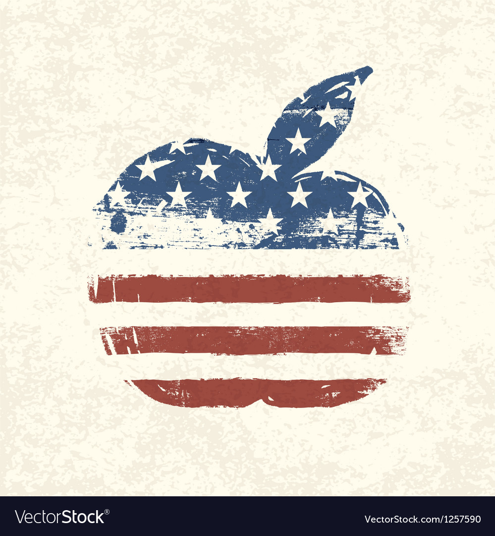 American flag apple shaped vector | Price: 1 Credit (USD $1)