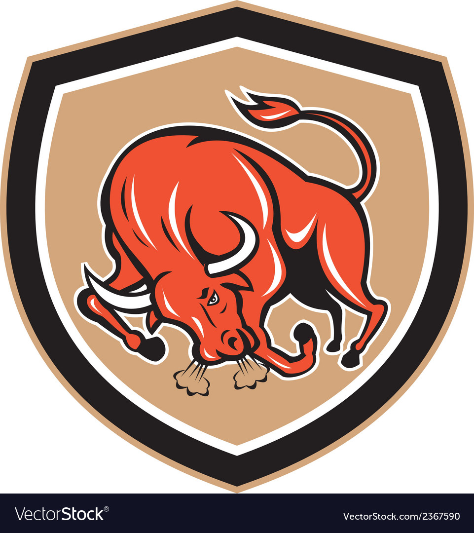 Angry bull charging shield cartoon vector | Price: 1 Credit (USD $1)