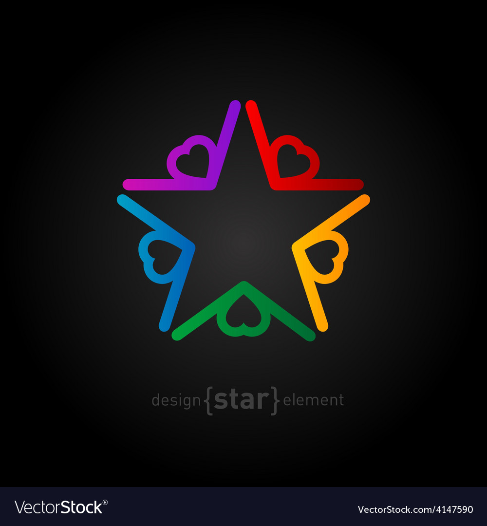 Coloured star with hearts abstract design element vector | Price: 1 Credit (USD $1)