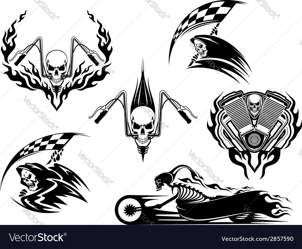 Death road accident and racing characters vector | Price: 1 Credit (USD $1)