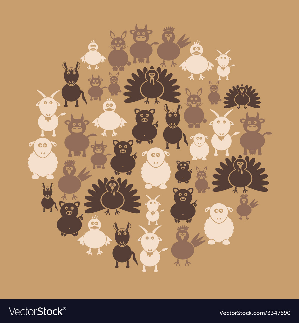 Farm animals simple icons in circle eps10 vector | Price: 1 Credit (USD $1)