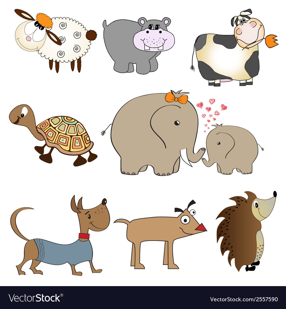 Funny animals cartoon set isolated on white vector | Price: 1 Credit (USD $1)