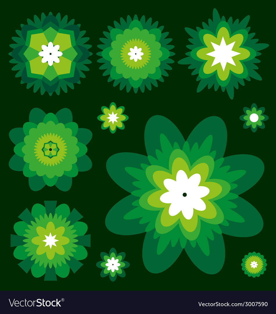 Green flowers collection vector | Price: 1 Credit (USD $1)