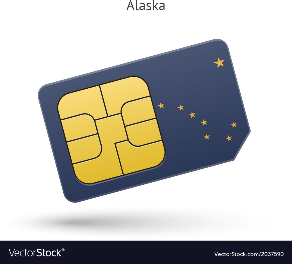State of alaska phone sim card with flag vector | Price: 1 Credit (USD $1)