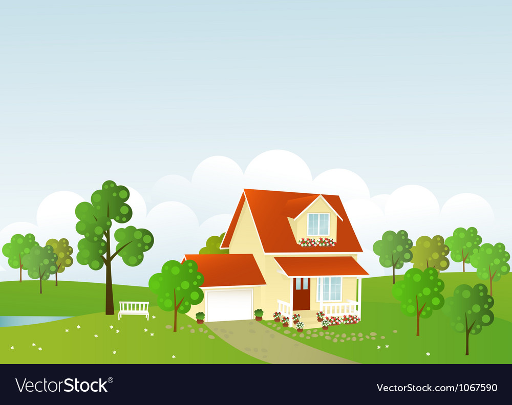 Summer house vector | Price: 1 Credit (USD $1)