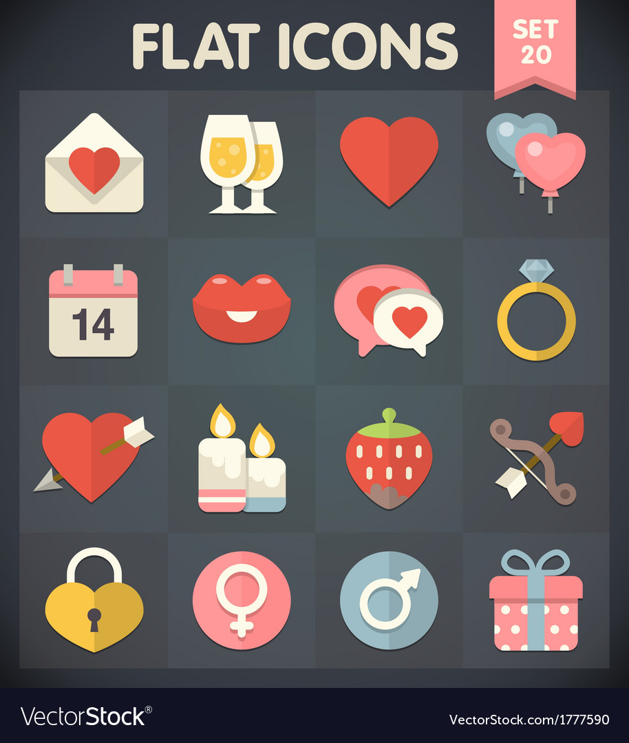 Valentines day flat icons for applications vector | Price: 1 Credit (USD $1)