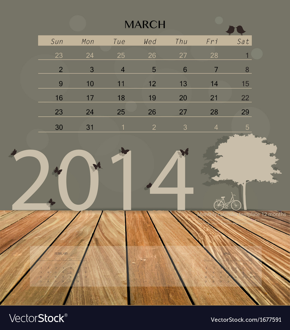 2014 calendar monthly calendar template for march vector | Price: 1 Credit (USD $1)