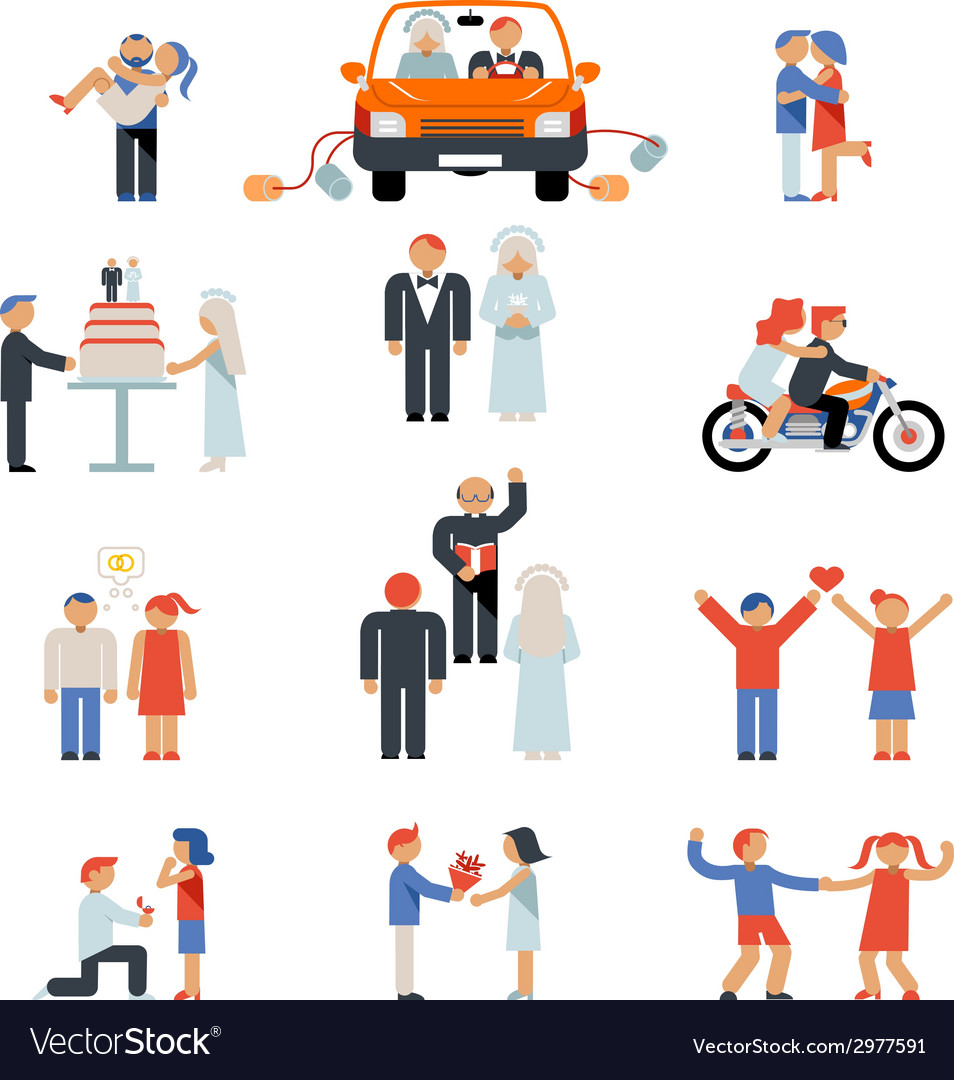 Assortment of couple icons vector | Price: 1 Credit (USD $1)