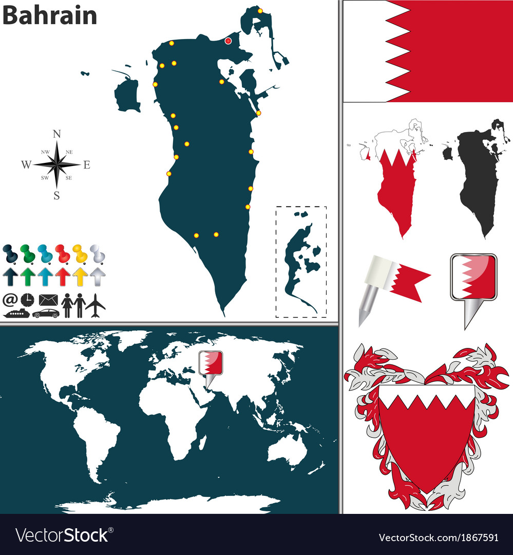 Bahrain map world vector | Price: 1 Credit (USD $1)