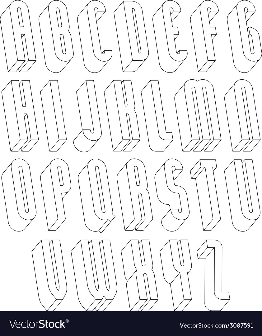 Black and white 3d font made with thin lines vector   Price: 1 Credit (USD $1)