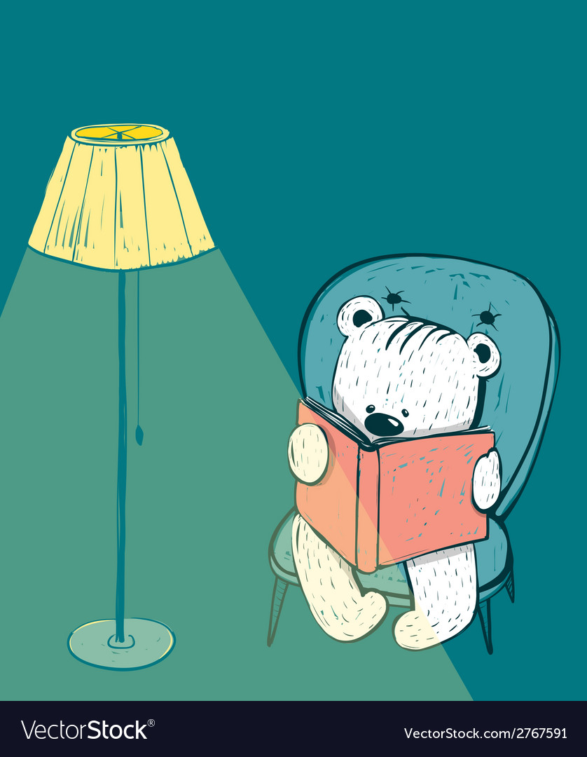 Cartoon baby bear reading a book vector | Price: 1 Credit (USD $1)