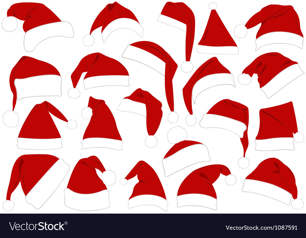 Christmas hats set vector | Price: 1 Credit (USD $1)