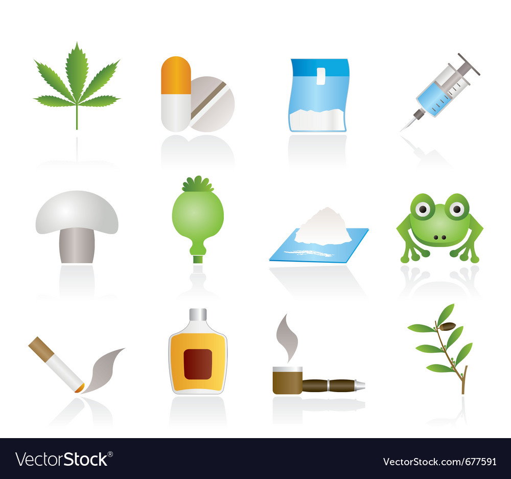 Drugs narcotics icons vector | Price: 1 Credit (USD $1)