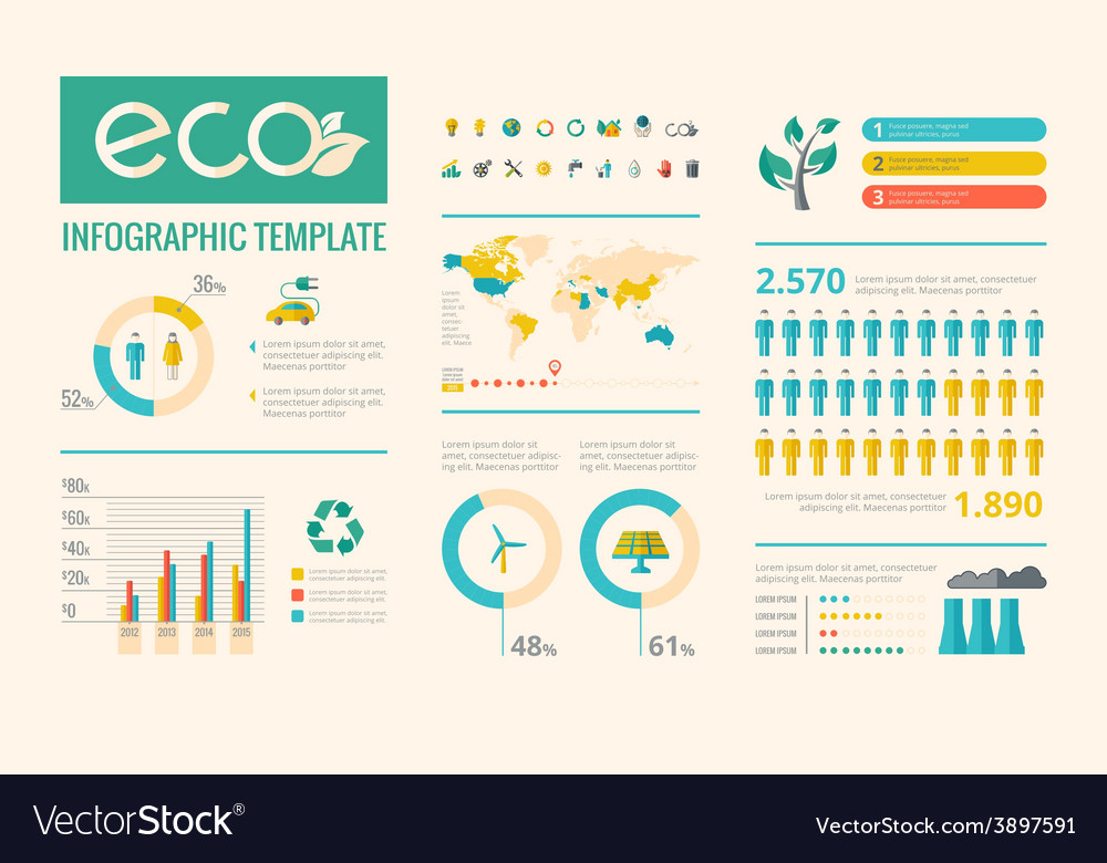 Ecology infographic elements vector | Price: 3 Credit (USD $3)