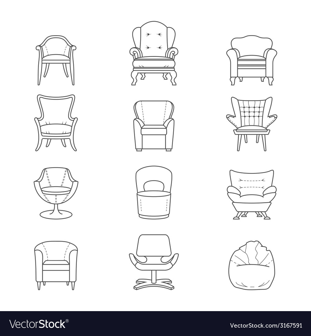 Flat line armchair isolated icons set vector | Price: 1 Credit (USD $1)