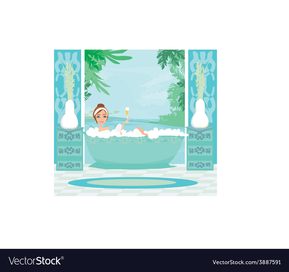 Girl relaxes in the bath in a tropical spa vector | Price: 1 Credit (USD $1)