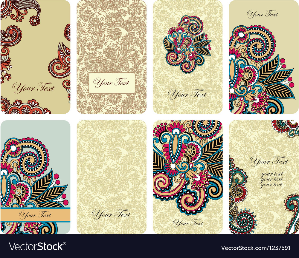 Hand draw ornamental floral card set vector | Price: 1 Credit (USD $1)
