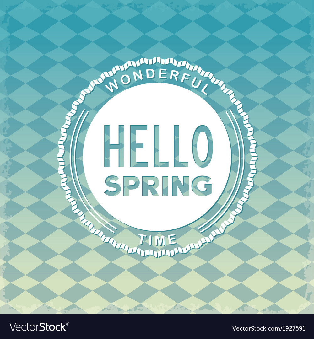 Hello spring retro label vector | Price: 1 Credit (USD $1)