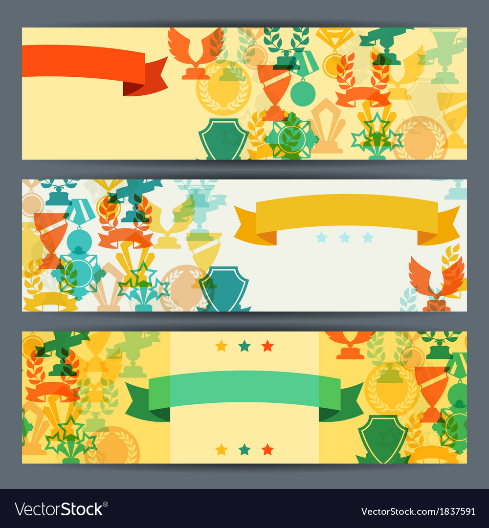 Horizontal banners with trophies and awards vector | Price: 1 Credit (USD $1)