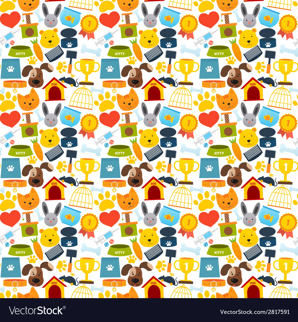Pets seamless pattern vector | Price: 1 Credit (USD $1)