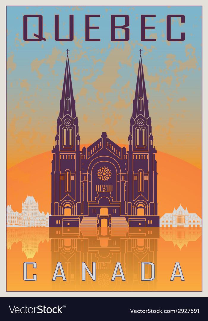 Quebec vintage poster vector | Price: 1 Credit (USD $1)