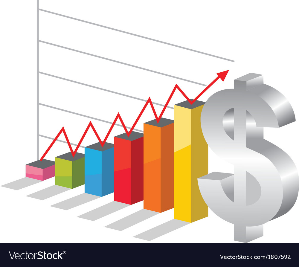 Bussiness graph with silver dollar sign vector | Price: 1 Credit (USD $1)