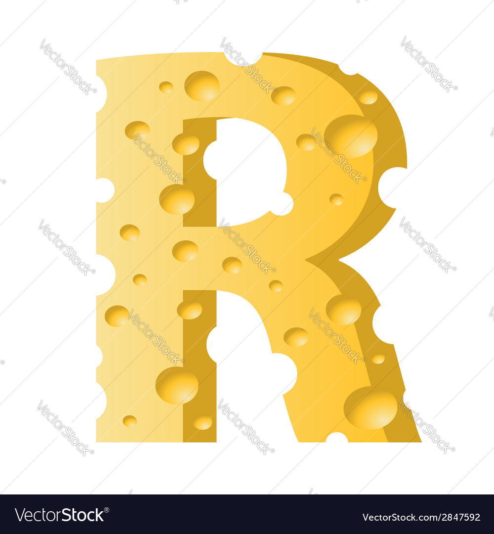 Cheese letter r vector | Price: 1 Credit (USD $1)