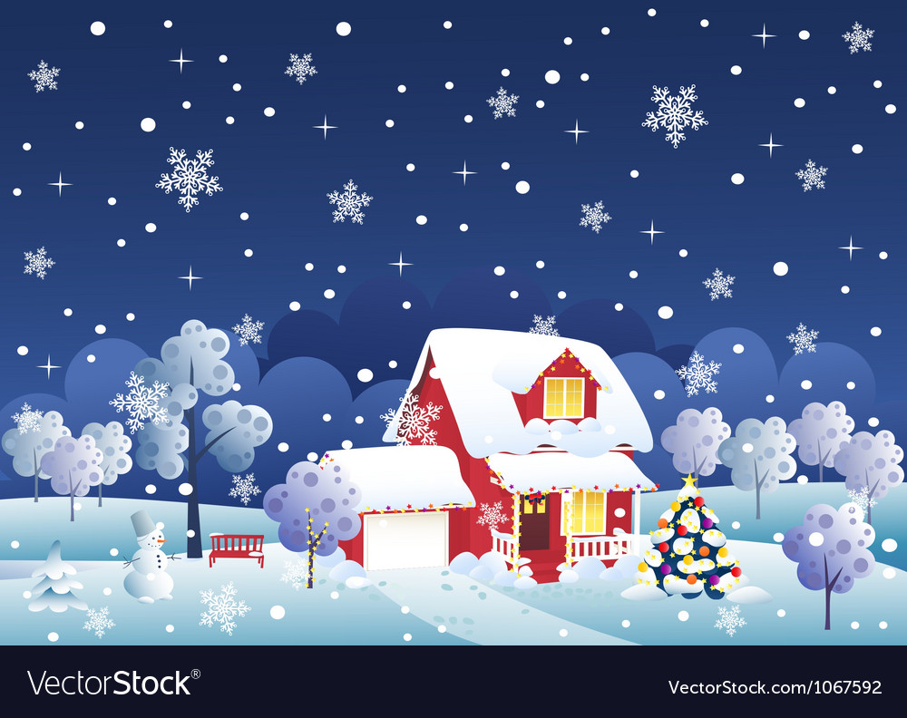 Christmas house vector | Price: 1 Credit (USD $1)