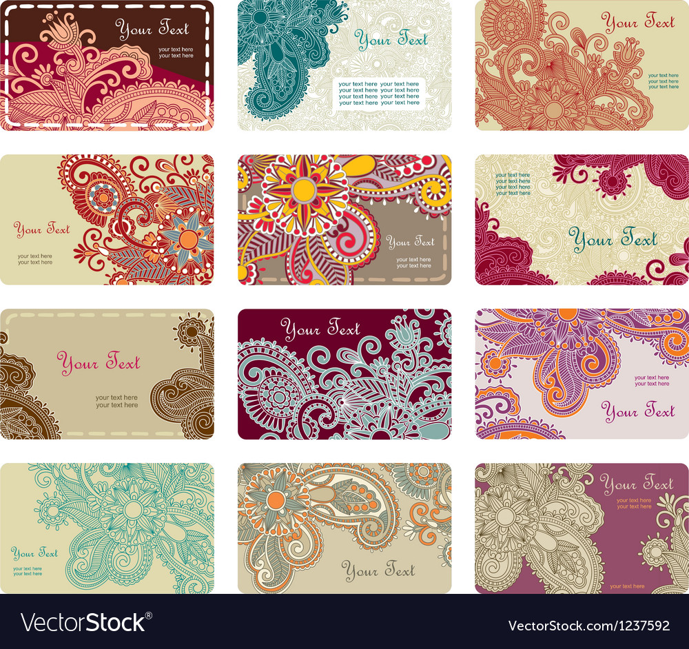 Hand draw ornate floral business card set vector | Price: 1 Credit (USD $1)