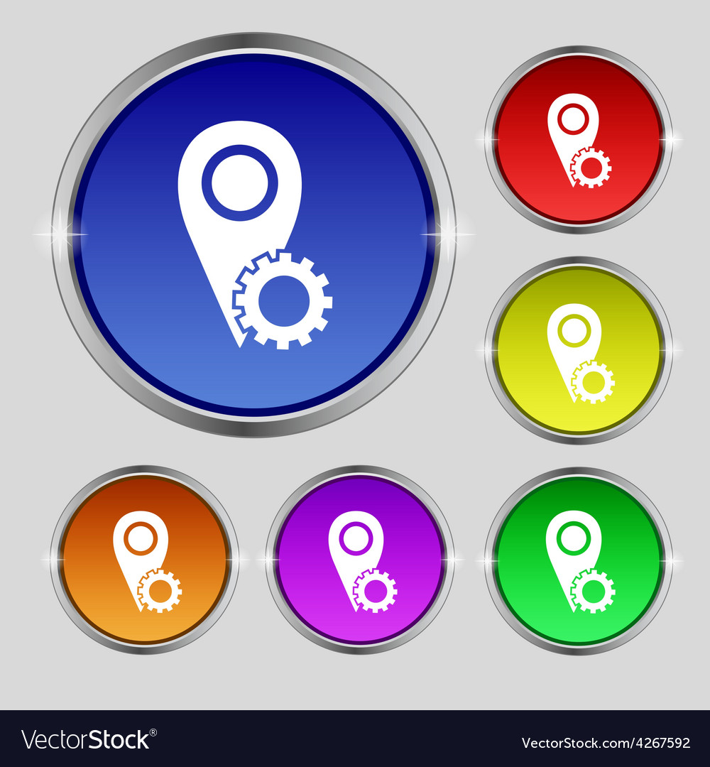 Map pointer setting icon sign round symbol on vector | Price: 1 Credit (USD $1)